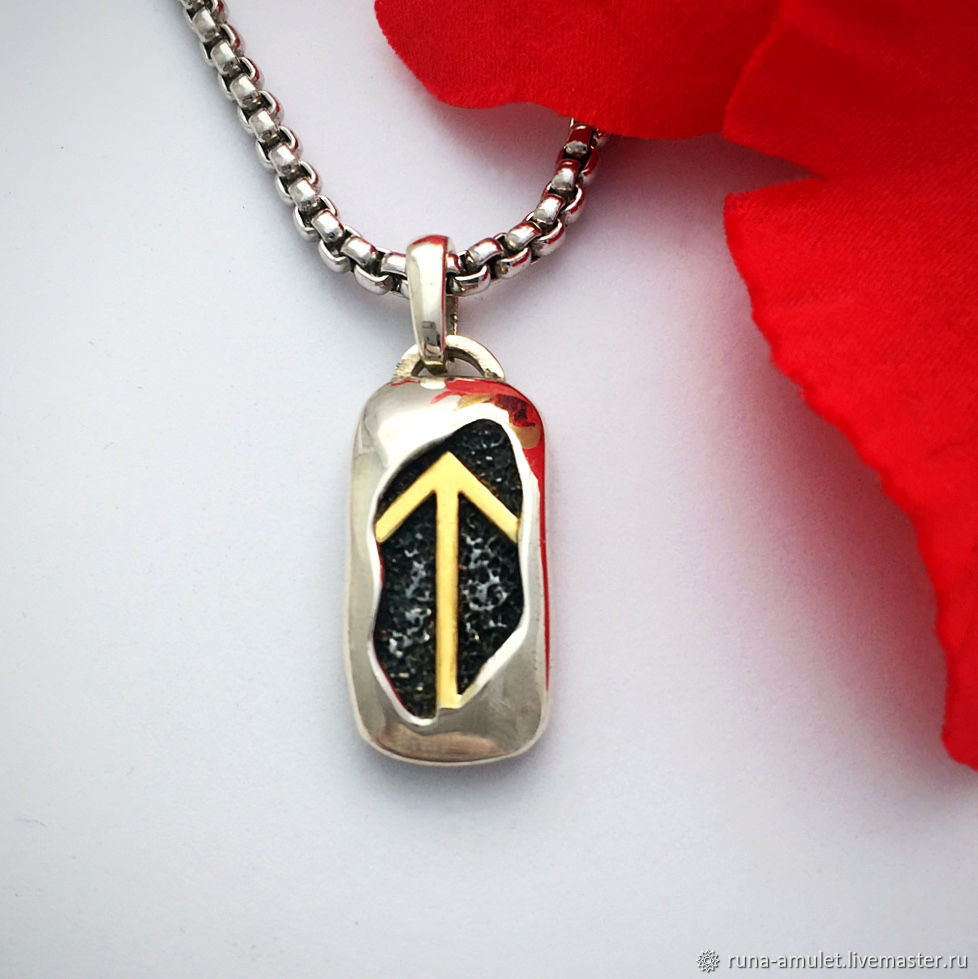 Achievement of the goal, energy - Amulet Teivaz pendant silver with gold, Amulet, Moscow,  Фото №1