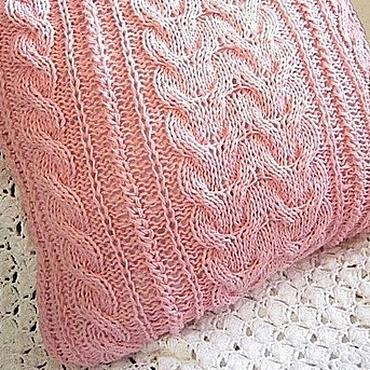 Textiles handmade. Livemaster - original item Case/Pillow cover for sofa cushion Pink Relaxed. Pastel. Handmade.