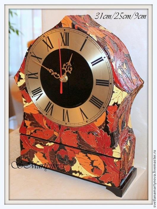 """Часы для дома ручной работы. Ярмарка Мастеров - ручная работа. Купить Часы каминные """"Осенний блюз"""". Handmade. Авторская роспись"""