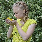 Одежда ручной работы. Ярмарка Мастеров - ручная работа Кофта вязаная лимонная. Handmade.