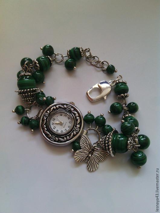 Часы ручной работы. Ярмарка Мастеров - ручная работа. Купить Малахитовые часики. Handmade. Зеленый, часы ручной работы