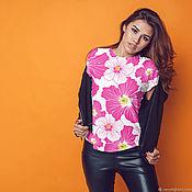 T-shirts handmade. Livemaster - original item T-shirt women`s Blooming rose of China. Handmade.