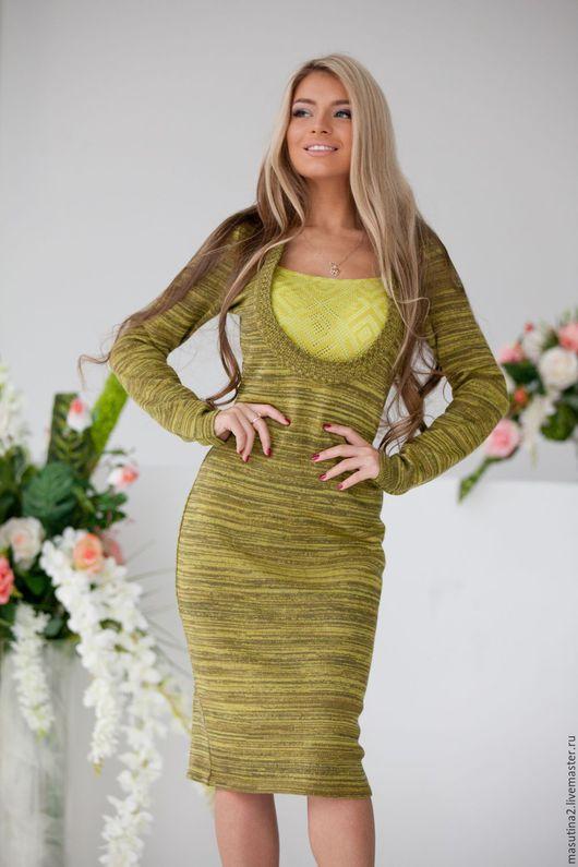"""Платья ручной работы. Ярмарка Мастеров - ручная работа. Купить Платье """"Меланж"""" green. Handmade. Хаки, авторская одежда"""