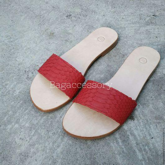 Обувь ручной работы. Ярмарка Мастеров - ручная работа. Купить Шлепанцы из натуральной кожи питона. Handmade. Комбинированный, сандалии из питона