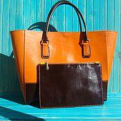Кожаная сумка женская большая Зара