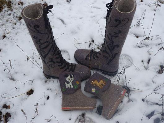 Обувь ручной работы. Ярмарка Мастеров - ручная работа. Купить валенки женские. Handmade. Коричневый, валенки со снегирем