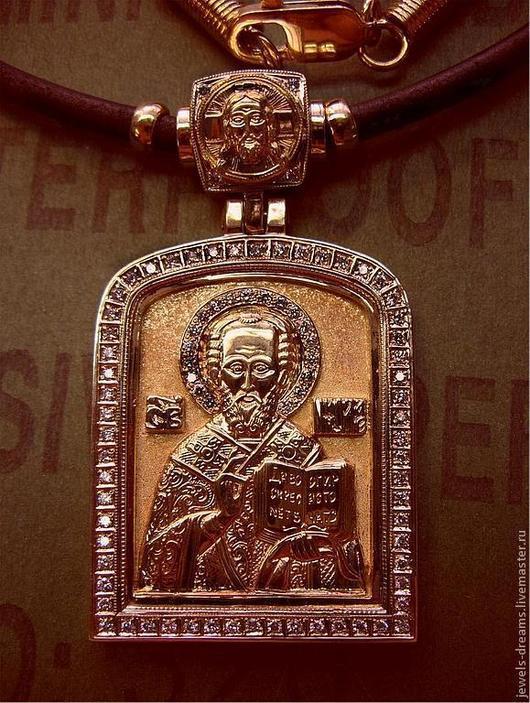Подвеска из золота 585 пробы Иконка Николая Чудовторца