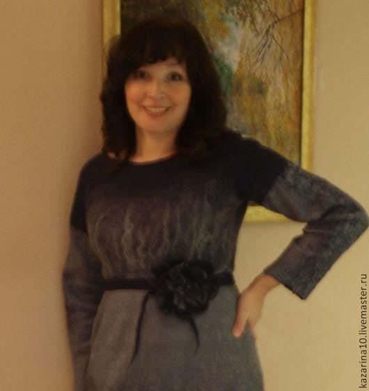 """Платья ручной работы. Ярмарка Мастеров - ручная работа. Купить Валяное платье """"Теплый вечер"""". Handmade. Серый, тёмно-синий"""