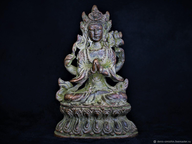 Ботхисаттва. Старинная тибетская статуэтка. Бронза, Ритуальная атрибутика, Ессентуки,  Фото №1