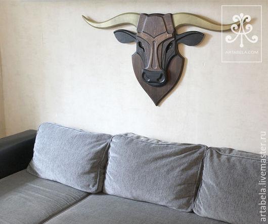 Животные ручной работы. Ярмарка Мастеров - ручная работа. Купить Декоративная голова быка. Handmade. Голова быка, голова из дерева