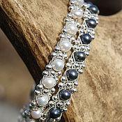 Украшения ручной работы. Ярмарка Мастеров - ручная работа Изящный плетёный женский серебряный браслет с речным жемчугом. Handmade.