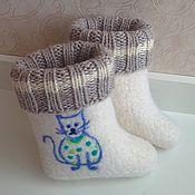 """Обувь ручной работы. Ярмарка Мастеров - ручная работа Валеночки детские """"Котики"""". Handmade."""