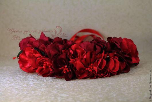Диадемы, обручи ручной работы. Ярмарка Мастеров - ручная работа. Купить Венок на голову с цветами. Handmade. Ярко-красный, цветы