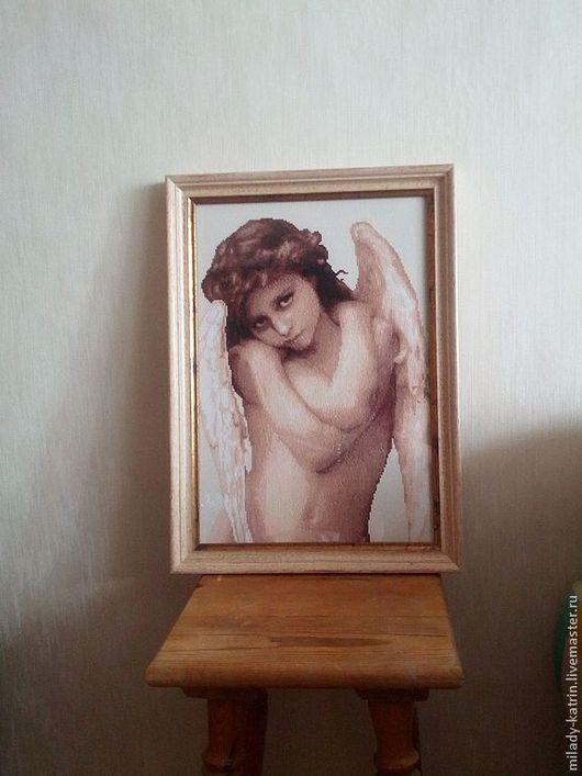 Люди, ручной работы. Ярмарка Мастеров - ручная работа. Купить Ангел. Handmade. Вышивка крестом, ангелочек, люди, бежевый