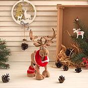 Сувениры и подарки handmade. Livemaster - original item Christmas gifts: Christmas deer-knitted interior toy. Handmade.