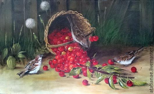 """Натюрморт ручной работы. Ярмарка Мастеров - ручная работа. Купить По мотиву картины """"Похитители вишни"""". Handmade. Разноцветный, воробьи"""