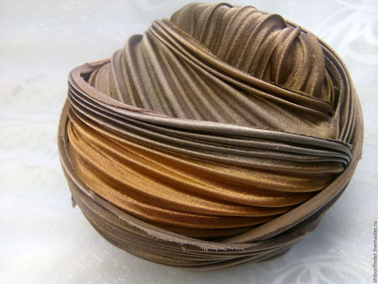 Для украшений ручной работы. Ярмарка Мастеров - ручная работа. Купить №75 Шоколадные мечты Ленты Шибори Silk Ribbons Shibori. Handmade.