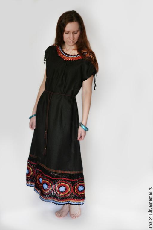 Платья ручной работы,  льняное платье с кружевом, платье в этническом стиле, автор Юлия Льняная сказка