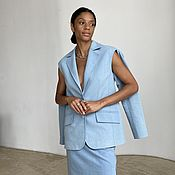 Одежда handmade. Livemaster - original item Denim jacket with slits on the sleeves (blue). Handmade.