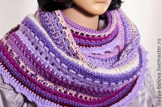 Шарфы и шарфики ручной работы. Ярмарка Мастеров - ручная работа. Купить Снуд-шарф вязаный фантазийный, фиолетовый+сиреневый+песочный. Handmade. Фиолетовый