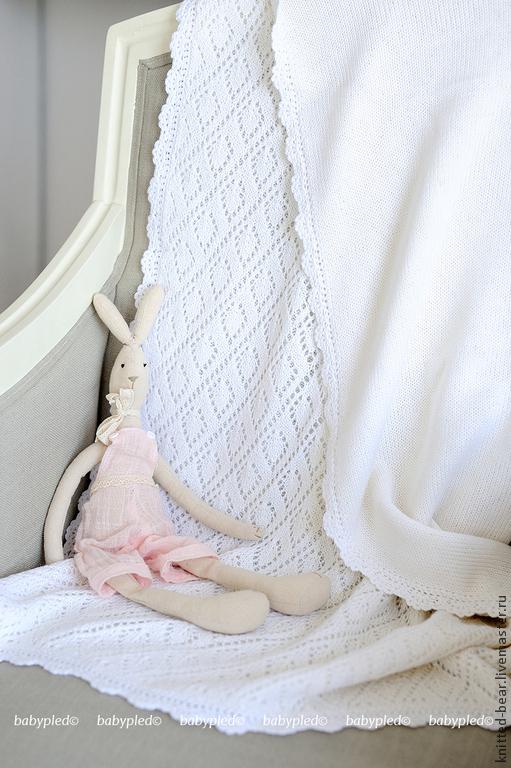 Пледы и одеяла ручной работы. Ярмарка Мастеров - ручная работа. Купить Вязаный детский плед. Handmade. Белый, плед детский