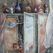 """Картины и панно ручной работы. Ярмарка Мастеров - ручная работа Постер с картины """"Обитатели моего шкафчика"""". Handmade."""