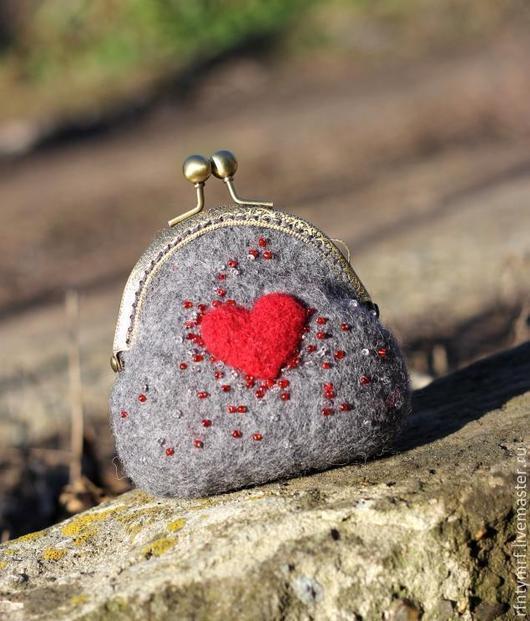 """Кошельки и визитницы ручной работы. Ярмарка Мастеров - ручная работа. Купить Кошелечек, """" От всего сердца"""". Handmade. сердце"""