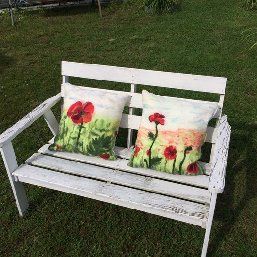 Текстиль, ковры ручной работы. Ярмарка Мастеров - ручная работа. Купить Подушка МАКИ. Handmade. Комбинированный, подушка на диван