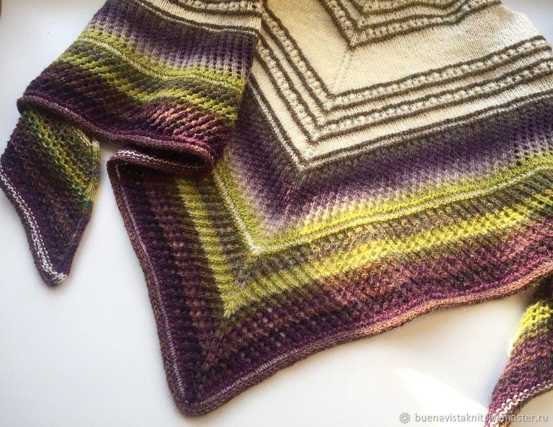 Knitted shawl. Multicolored shawl. Woolen shawl