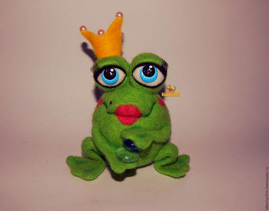 Коллекционные куклы ручной работы. Ярмарка Мастеров - ручная работа. Купить Царевна Лягушка валяная игрушка. Handmade. Зеленый, жабка