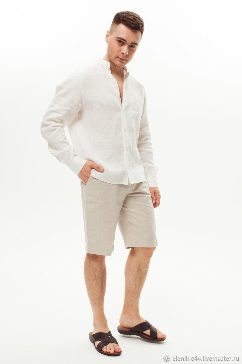 Рубашка мужская льняная белая с длинным рукавом, Рубашки мужские, Кострома,  Фото №1