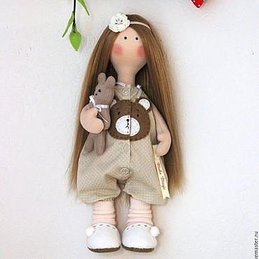 Куклы и игрушки ручной работы. Ярмарка Мастеров - ручная работа Текстильная кукла Ева с мишкой. Handmade.