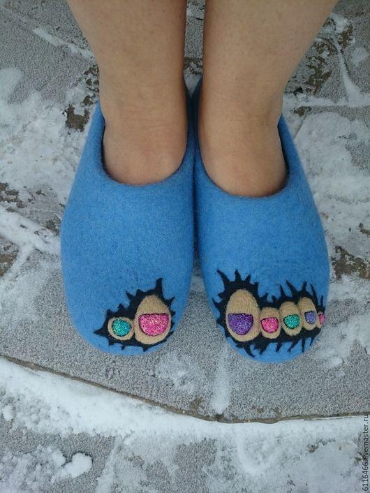 Обувь ручной работы. Ярмарка Мастеров - ручная работа. Купить домашние валяные тапочки из натуральной шерсти  Ши-лак. Handmade.