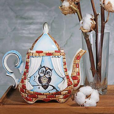 """Посуда ручной работы. Ярмарка Мастеров - ручная работа Чайник заварочный фарфоровый """"Совёнок"""". Handmade."""