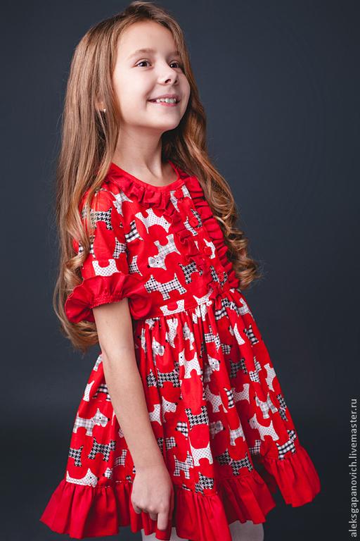 Одежда для девочек, ручной работы. Ярмарка Мастеров - ручная работа. Купить Платье с собачками. Handmade. Рисунок, принт на ткани