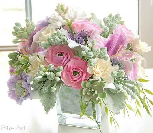 Букеты ручной работы. Ярмарка Мастеров - ручная работа. Купить Букет с каменными розами, цветы из глины. Handmade. Мятный