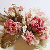 Свадебный салон handmade. Livemaster - original item Silk rose brooch. Handmade.