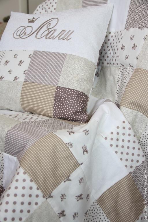 Текстиль, ковры ручной работы. Ярмарка Мастеров - ручная работа. Купить Лоскутное одеяло и именная подушка. Handmade. Разноцветный, подарок