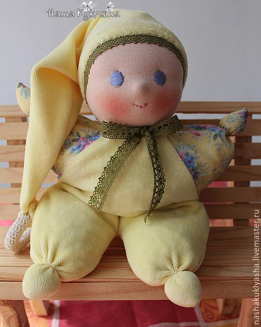 Вальдорфская игрушка ручной работы. Ярмарка Мастеров - ручная работа. Купить Вальдорфская кукла Солнечный Малыш с вишневыми косточками. Handmade.