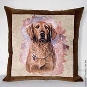 Для дома и интерьера handmade. Livemaster - original item Cushion with Labrador dog of a buy.Gift. Handmade.
