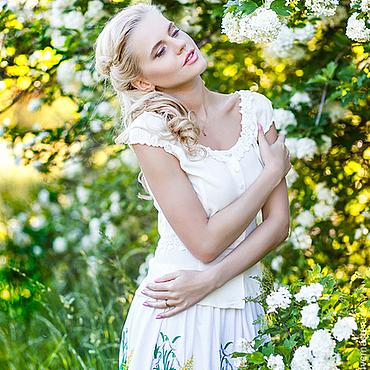 Одежда ручной работы. Ярмарка Мастеров - ручная работа Эксклюзив. Льняная юбка с вышивкой. Handmade.