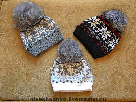 Hats handmade. Livemaster - handmade. Buy cap with Norwegian patterns and fur POM-POM.Author's knitwear