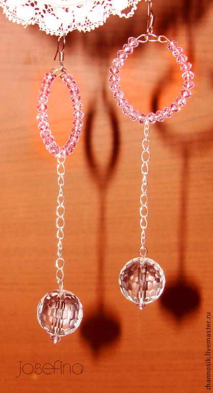 Серьги ручной работы. Ярмарка Мастеров - ручная работа. Купить серьги Josefina. Handmade. Розовый, розовый цвет, оригинальное украшение