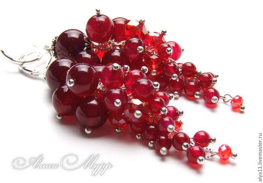"""Серьги ручной работы. Ярмарка Мастеров - ручная работа. Купить Серьги """"Сок рубиновый вишни..."""" (натуральный камень). Handmade."""