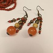 Украшения handmade. Livemaster - original item Earrings ethnic orange Rowan sun. Handmade.