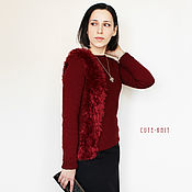 Одежда handmade. Livemaster - original item Sweater for women knitted with fur trim. Handmade.