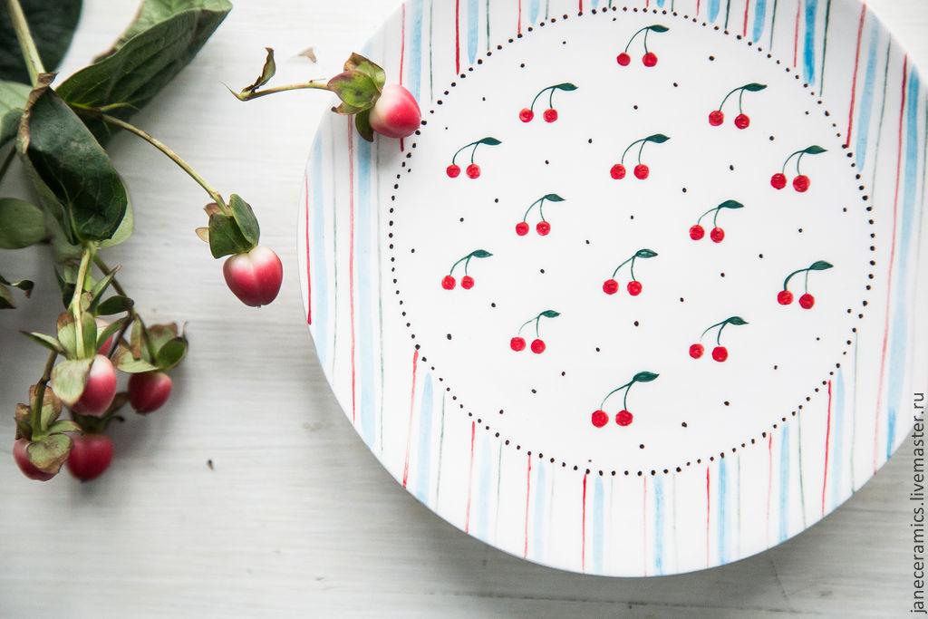 Cherry dessert... Saucer handmade ceramics, Plates, Zhukovsky,  Фото №1