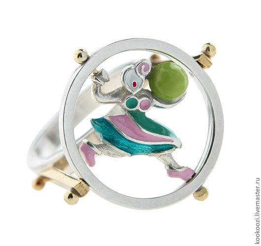 """Кольца ручной работы. Ярмарка Мастеров - ручная работа. Купить Кольцо """"Девочка с шаром"""". Handmade. Серебро, круг, эмаль, эмаль"""
