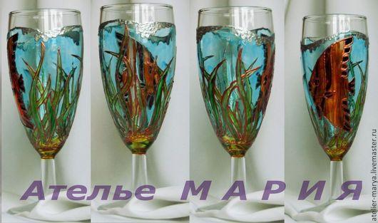 """Бокалы, стаканы ручной работы. Ярмарка Мастеров - ручная работа. Купить Бокал для шампанского """"Море"""". Handmade. Подарок на любой случай"""