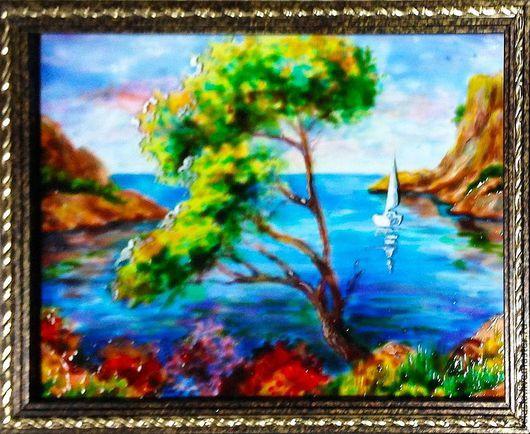 Пейзаж ручной работы. Ярмарка Мастеров - ручная работа. Купить Испанское побережье, витражная живопись по стеклу. Handmade. Синий, море